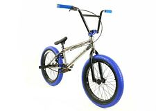 "Elite BMX 20"" Destro Bicycle Freestyle Bike 3 Piece Crank Raw Blue 2019"