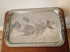 Vintage Rodney Kent Handwrought Hand Hammered Aluminum Tray w/ Floral Decoration