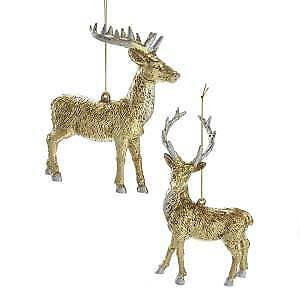 Set of 2 Gold and Silver Reindeer Ornaments w
