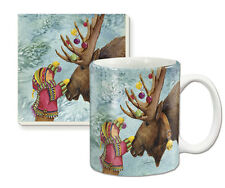 Ceramic Mug & Coaster Gift Set-Christmas-Holiday Moose #60632