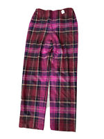 Company Ellen Tracy Plaid Wool Pink Red Womens Trouser Pants Size 12