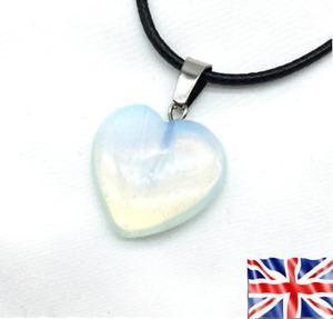 White Opal Heart Stone Chakra Reiki Yoga Pendant Rope Necklace Free Bag UK