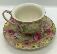 Tea Cup And Saucer Pink Roses and yellow Daisys Made In China