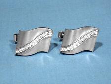Gold Diamond Cufflinks Solid 14K White