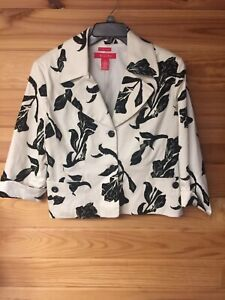 A Line Ladies Womens Black/White Floral 3/4 Sleeve Stretch Jacket Blazer Size 14
