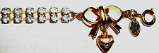 NWOB Juicy Couture Light Blue Crystal & Gold bracelet with bow & heart charm