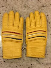 Vintage Fairfield-Hanover Cowhide Mustard  Leather Gloves Snowmobile Racer Small