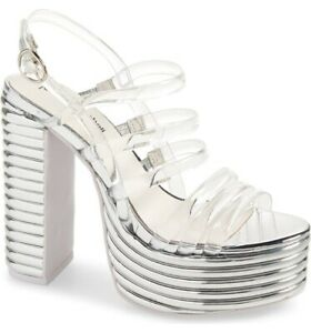 Jeffrey Campbell 7.5 ABBA Clear Silver platform heels NEW
