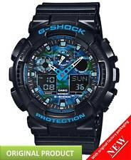 GA100CB-1A Men's Black Ana-Digi Alarm Chrono Blue Camo Dial Casio G Shock Watch