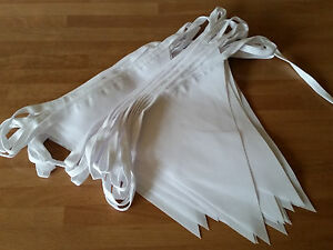 White Wedding Fabric Bunting 10 metres Handmade Elegant classic Traditional