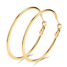 Gold/Silver/Black /Rose Gold Titanium Steel Big Round Hoop Loop Dangle Earrings