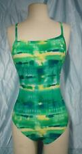 Green Yellow White Tie Dye TYR Front Lined Competition Style Swim Suit Sz 34