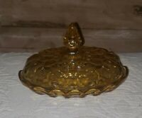 Vintage Amber Yellow Depression Glass Butter Dish with Dome Lid Oval Oblong