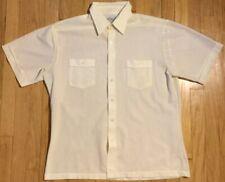 2f13364f 60s Vintage Sears Sea Breeze shirt L pale sheer yellow button down  pinstripe 70s