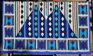 "#G223 - Yucca Flats Wool Show Saddle Blanket - 34"" x 38"" - Blue/Purple/Tan/Cream"