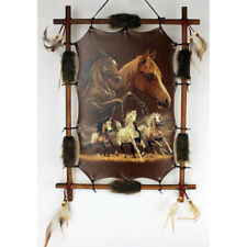 """22""""x 16"""" Running Horses Native Dream Catcher Wall Hang Decor Feathers Wood Frame"""