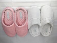 2 Pair Charter Club Microvelour Memory Foam Womens Slippers Pink White Sz S 5-6