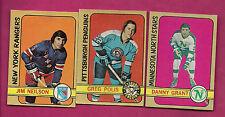 1972-73 OPC RANGERS NEILSON + PENGUINS POLIS + STARS GRANT  CARD