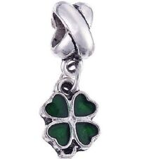 SILVER FOUR LEAF CLOVER DANGLE CHARM BEAD FOR BRACELET NECKLACE