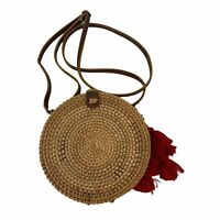 Anthropologie Collection18 Handwoven Round Rattan Wicker Purse Crossbody Bag New