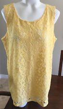 Charter Club Blouse Lace Zipper Back Sleeveless Yellow Womens Large