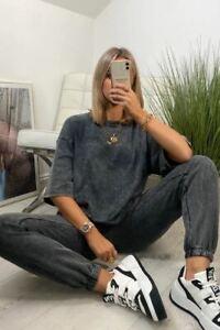 Grey acid wash t-shirt Emily shak collection casual loungewear glam fashion