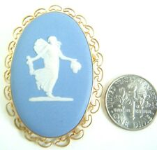 VINTAGE VAN DELL WEDGWOOD PIN PENDANT FAIRY / MUSE FIGURE 12K GOLD FILLED MINT!