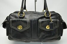 Coach Legacy Black Leather Turnlock Pockets Satchel Carryall Purse 1808