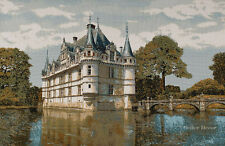 WALL JACQUARD WOVEN TAPESTRY Medieval Azay Castle, France EUROPEAN DECOR PICTURE