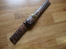 Handmade 18mm Brown GENUINE CROCODILE Watch Strap, Goldtone Deployment Buckle