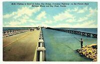 Vintage Linen Postcard Key West Florida FL Fishing at the Indian Key Bridge HWY