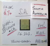 SOUTH AUSTRALIA QV STATE STAMP, SG242 YELLOW GREEN FU 1/2d MUH, CROWN & SA Wmk