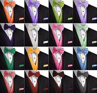 Men's Solid Satin Tuxedo Vest, Bow-Tie & Hankie Set. Formal Dress Wedding Prom