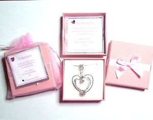 Rhinestone Heart Necklace for Bride Bridesmaid Flower Girl Personalised Gift Box
