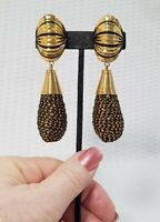 Vintage Jumbo Chunky Gold Tone and Black  Dangle Statement Clip-On Earrings