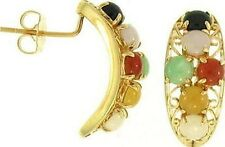 Natural Multi-Color Jadeite Jade & Black Nephrite Ovals 14K Yellow Gold Earrings
