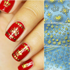 12Pcs 3D Nail Art Sticker Gold Embossed Crown Grid Leopard Decals Tips Decor