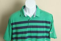 Nike Golf Men's green and blue striped short sleeve Standard Fit polo shirt L
