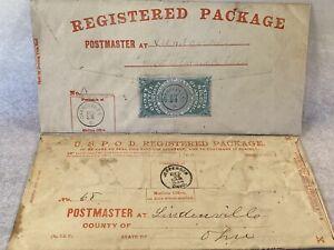 1872 USPS GREEN REGISTRY STAMP SEAL 2 Envelopes OXF1 Orangeville, Jefferson, Oh