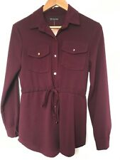 "NEW ""New Collection"" Made In Italy Burgundy Jersey Shirt Top, Size M (UK 10)"