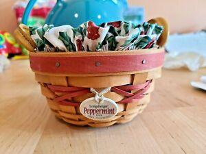 1999 Longaberger Peppermint Basket W/ Plastic Liner & Leather Handles