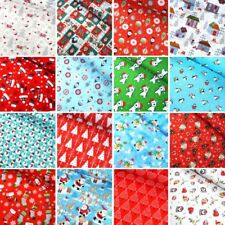 100% Cotton Fabric Christmas Xmas Collection Snowmen Festive Stars 135cm Wide