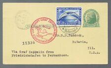 1930 GRAF ZEPPELIN Germany Postcard #2 Stamped Friedrichshaven to Pernambuco