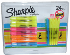 Highlighter Pens 24 Pack Coloured & Yellow Sharpie Accent Smear Guard New