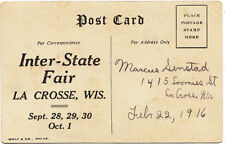 La Crosse WI Inter-State Fair, Postcard Invitation 1916