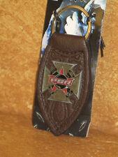 Professional Bull Riders PBR Keychain Keyring Brown Red Black Enamel Cross NWT