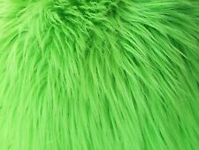 """Lime Green Luxury Long Pile Faux Shag Fur Fabric - Sold By The Yard - 60"""""""