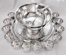 STUNNING! 15pc Vtg INTERNATIONAL SLV CO Slv Plate 4Qt Punch Bowl~Cups~Ladle~Tray