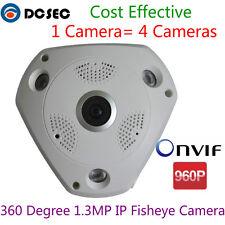 1.3MP 960P IP Cam POE Wide Angle 360 Degree View Panoramic Fisheye CCTV Camera