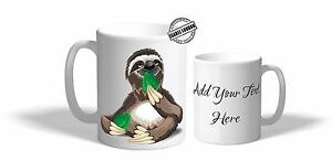 Personalised  Sloth Mug Cup Coaster.Add any Text ILV1440 -4 Design